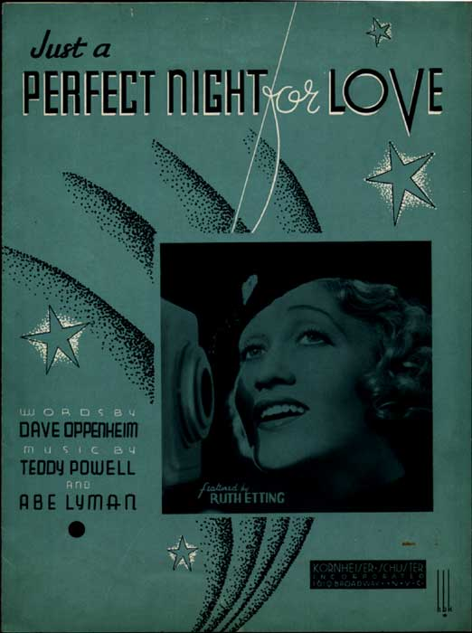 Just a Perfect Night For Love-Sheetmusic w/Ruth Etting