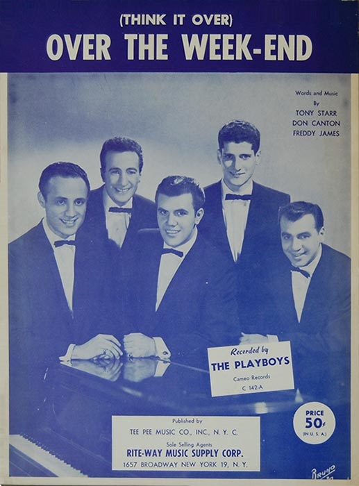 Over the Weekend-Sheetmusic, The Playboys