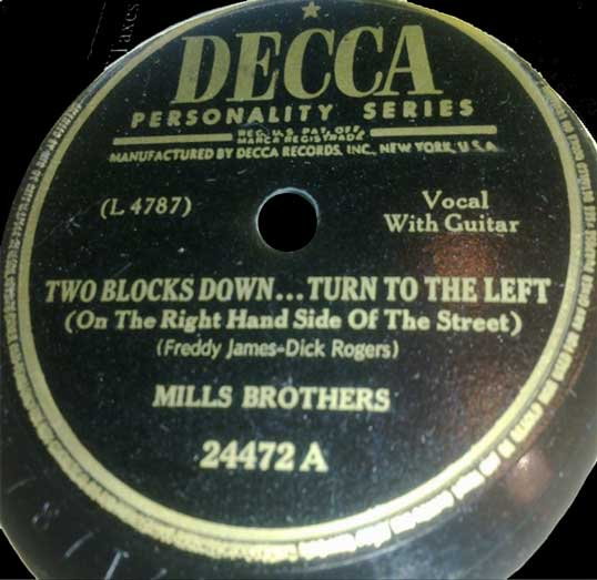 Decca 24472 A record label, Mills Brothers