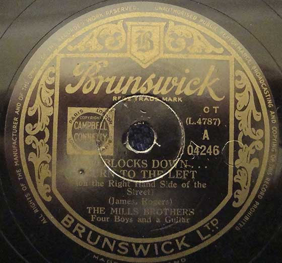 Brunswick A 04246 record label, The Mills Brotherts