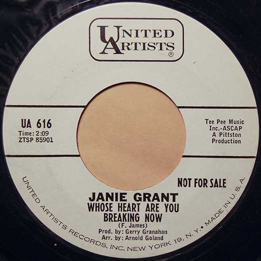 United Artist UA 616 record label, Janie Grant