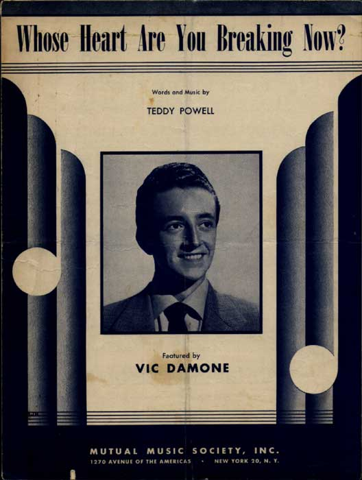 Whose Heart are you Breaking Now-Sheetmusic w/ Vic Damone