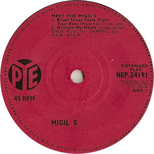 Unchain my Heart-PYE NEP.24191 record label, Migil 5